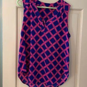 Blue & pink basket weave blouse